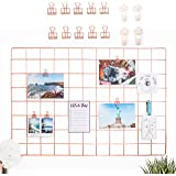 """AllTheCuteThings Rose Gold Wire Wall Grid with 10 Rose Gold Metal Clips and 4 Hooks, Size 25.6""""x17.7"""", Multifunction Photo Hanging Display, Wall Decor, Metal Mesh Board, Memo Board (10 Clips)"""