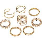 FINETOO 8 PCS Simple Knuckle Midi Ring Set Vintage Plated Gold/Silver for Women/Girl Finger Stackable Rings Set DIY…
