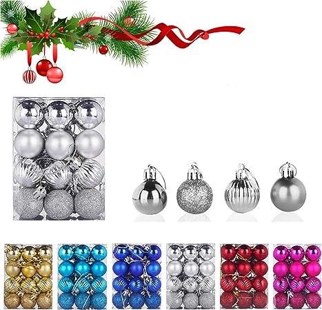 WELLXUNK® Bolas de Navidad, 24 Bolas de Decoración Navideña, Bolas de Adornos Navideños BrillantesNavideño para Colgar en la Pared Adornos: Amazon.es: Hogar