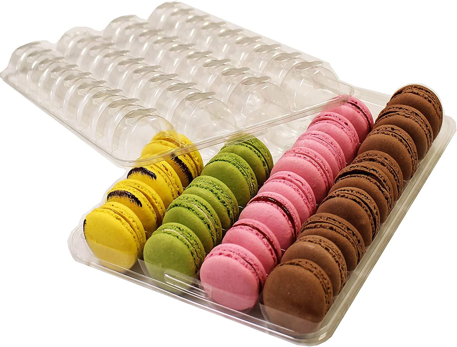 Clear Plastic Closeable French Macaron Storage Trays - Holds 36 Macarons per set - Pack of 6 sets - Made in France