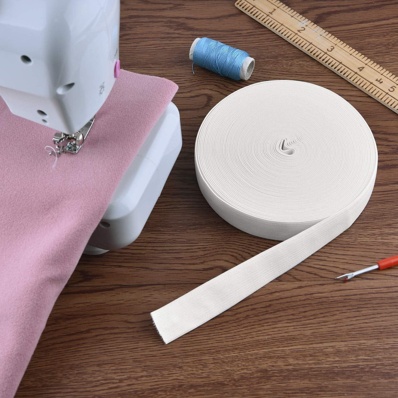 Coopay 16 Yards White Elastic Spool Sewing Stretch Elastic Band Spool 1 Inch x 16 Yard