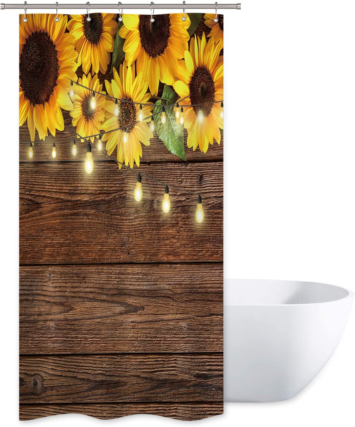 Riyidecor Rustic Sunflowers Wooden Board Light Shower Curtain Brown Yellow Country Spring Flowers Vintage Plant Kids Decor Fabric Nature Bathroom Polyester 36x72 Inch Include Plastic 7 Pack Hooks