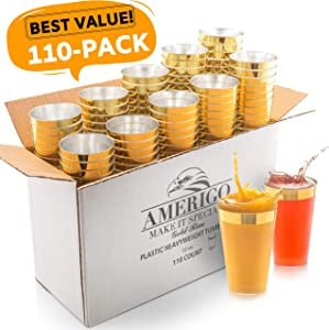 110 Elegant Gold Rimmed Clear Plastic Cups - 12 oz Disposable Plastic Tumblers - Hard Solo Cups for Wedding, Party or Any Special Event - Party Cups - Recyclable Party Glasses for Drinks - Punch Cups