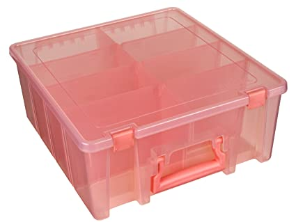 ArtBin Super Satchel Double Deep With Removable Dividers, Coral Art And  Craft Supply Storage Container