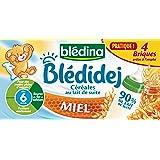 Blédina Blédidej Céréales au Lait de suite Miel dès 6 mois 4 x 250 ml - Pack de 3