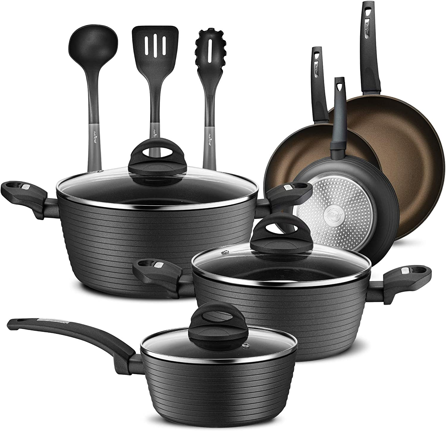 NutriChef 12-Piece Nonstick Kitchen Cookware Set - Professional Hard Anodized Home Kitchen Ware Pots and Pan Set, Includes Saucepan, Frying Pans, Cooking Pots, Dutch Oven Pot, Lids, Utensil - NCCW12S