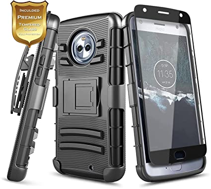 release date: b249b a058e NageBee Moto X4 Case with [Full Cover Tempered Glass Screen Protector],  [Heavy Duty] Armor Shock Proof [Swivel Belt Clip] Holster [Kickstand] Combo  ...