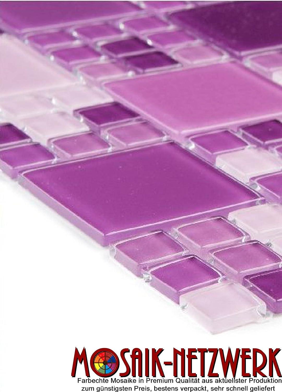 Glasmosaik Fliesen violett mix Wand Boden Dusche WC K/üche Art 10 Matten es-54275/_f