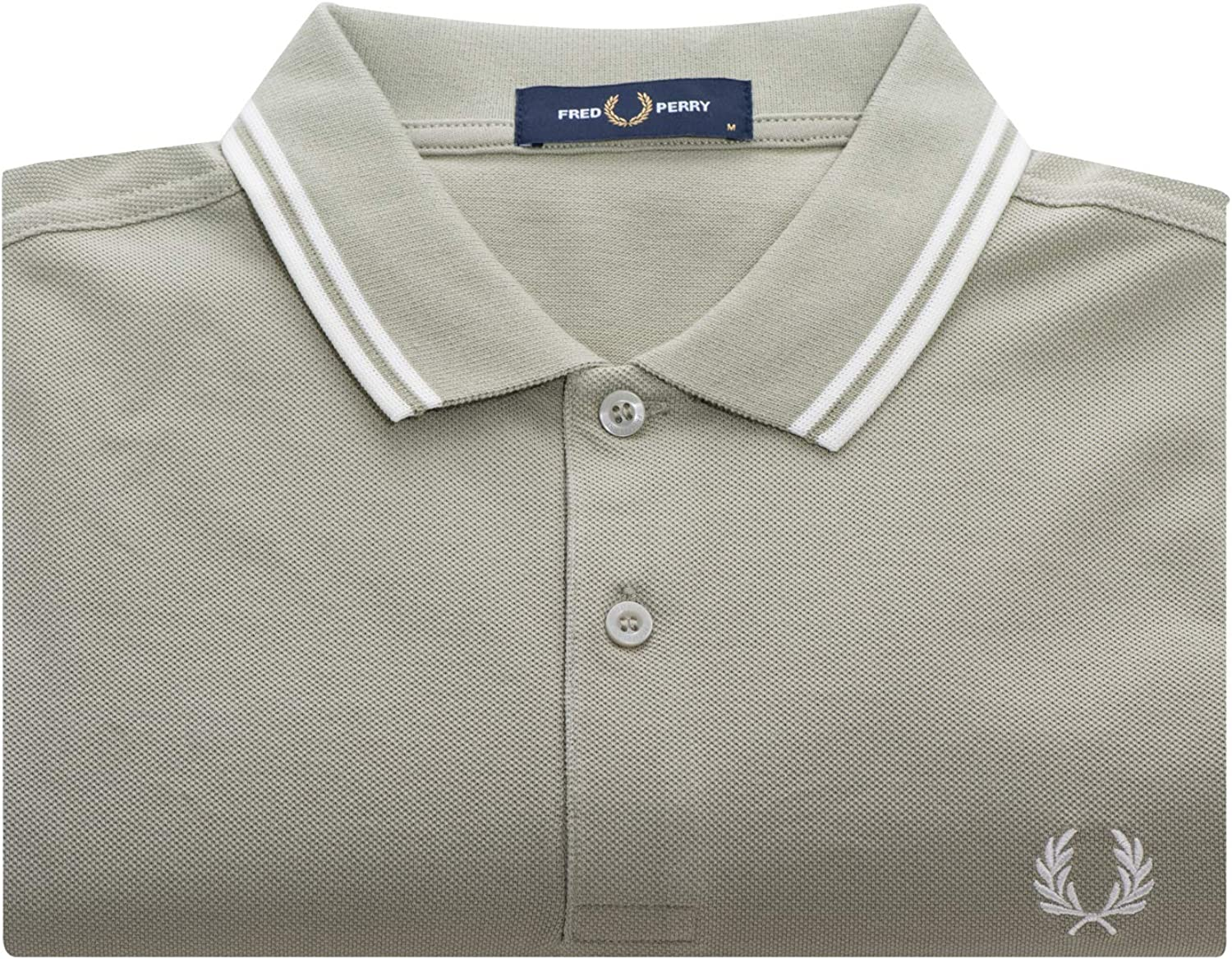 Fred Perry Twin Tripped Shirt Maillot de Tennis Homme Vert clair - blanc