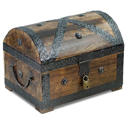 Brynnberg Cofre del Tesoro de Piratas de de Dibujos - Madera baúl marrón - Mano Vintage con candado 28 x 20 x 20 cm - El Regalo Ideal (tamaño Grande, ...