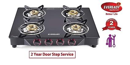 43081055970 Buy Eveready TGC4B MR Glass Top 4 Burner Gas Stove - Black Online at ...