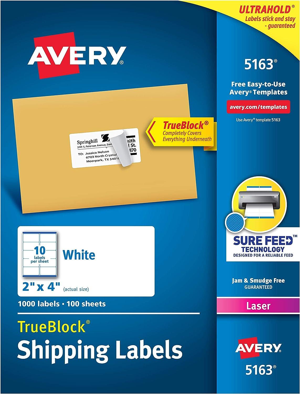 B00004Z6LV Avery Shipping Address Labels, Laser Printers, 1,000 Labels, 2x4 Labels, Permanent Adhesive, TrueBlock (5163) 81WZJ2BqF3BL