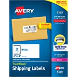 Avery Shipping Address Labels, Laser Printers, 5,000 Labels, 2x4 Labels, Permanent Adhesive, TrueBlock  (5-pack 5163)