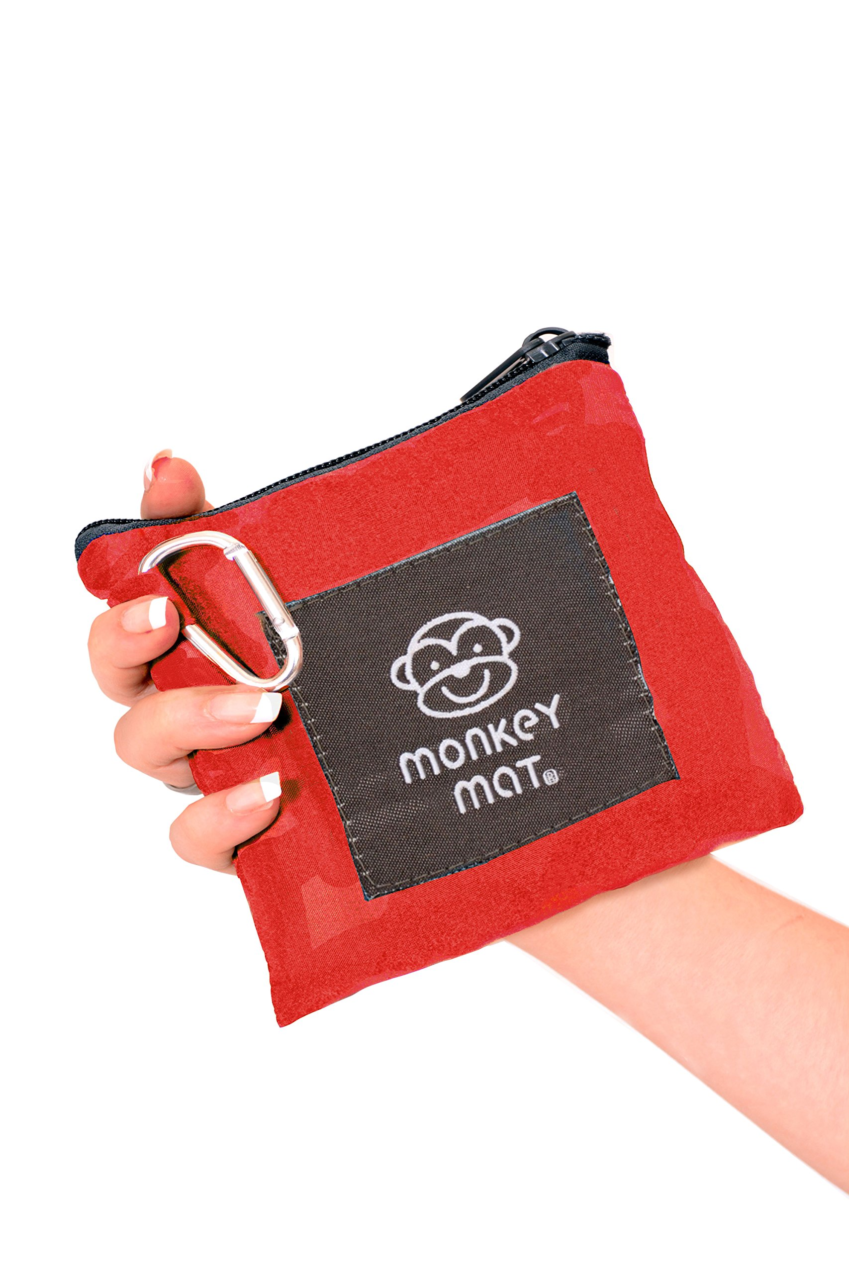 MONKEY MAT Portable Lightweight Indoor/Outdoor 5x5' Water/Sand Repellent Blanket with Corner Weights & Loops in Compact Pouch (Red Coral Crush)