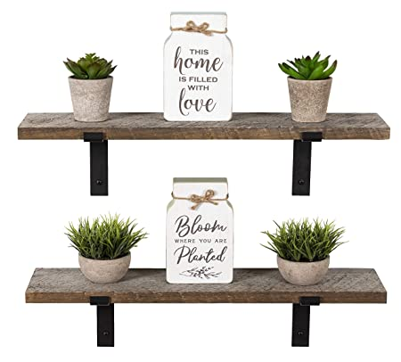 Imperative D cor Reclaimed Rustic Barnwood Farmhouse Floating Shelves Wall Mounted Wood Storage Shelf with L Brackets USA Handmade Set of 2 24 x 5.5in Reclaimed