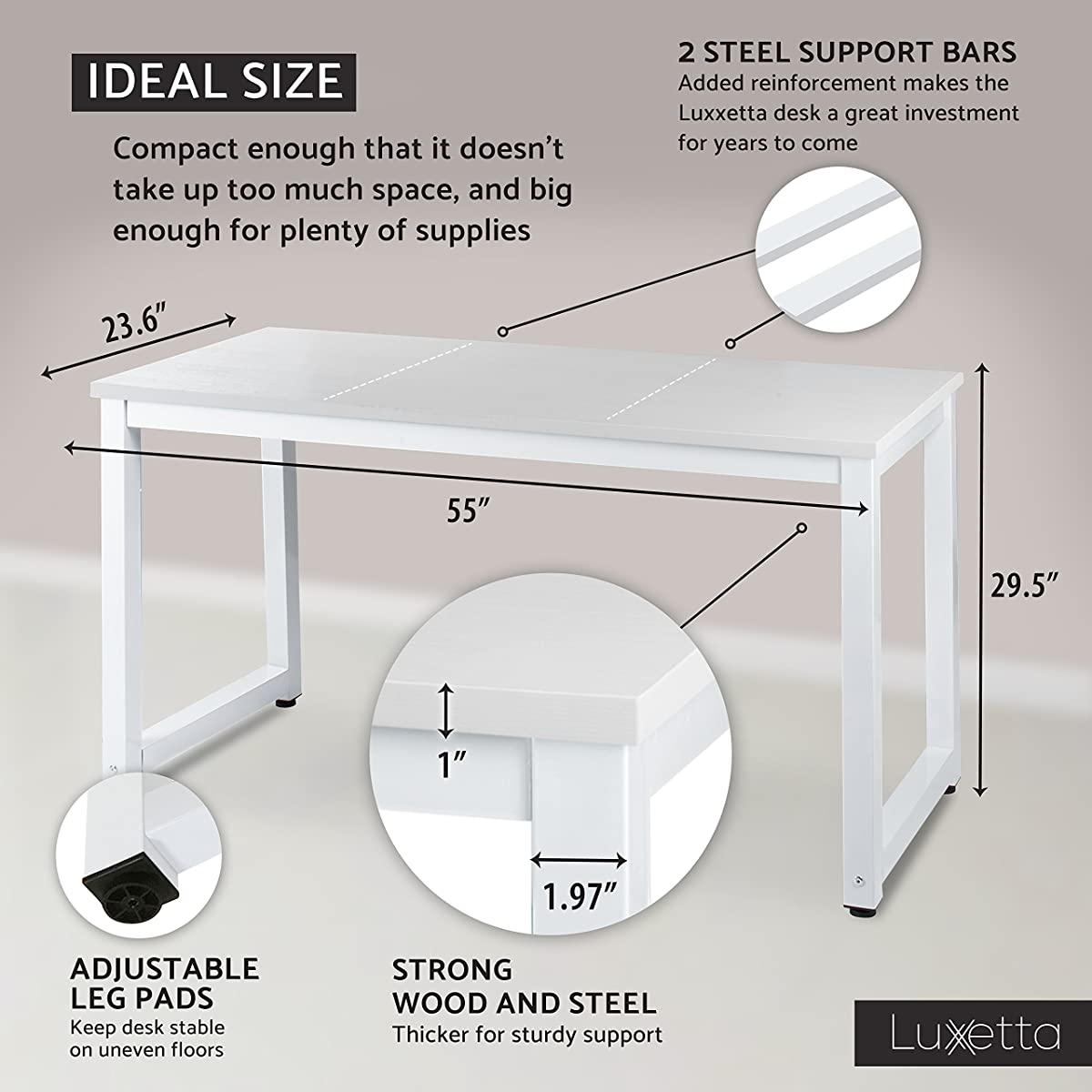 "Office Computer Desk – 55"" White Laminated Wooden Particleboard Table and White Powder Coated Steel Frame - Work or Home – Easy Assembly - Tools and Instructions Included – by Luxxetta"