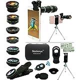 Cell Phone Camera Lens Kit,11 in 1 Universal 20x Telephoto Lens,0.63Wide Angle+15X Macro+198°Fisheye+2X Telephoto+Kaleidoscop