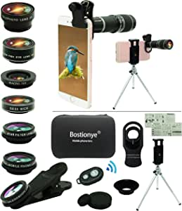 Cell Phone Camera Lens Kit,11 in 1 Universal 20x Telephoto Lens,0.63Wide Angle+15X Macro+198°Fisheye+2X Telephoto+Kaleidoscope+CPL/Starlight/Eyemask/Tripod/Remote,for Most Smartphone (Black)