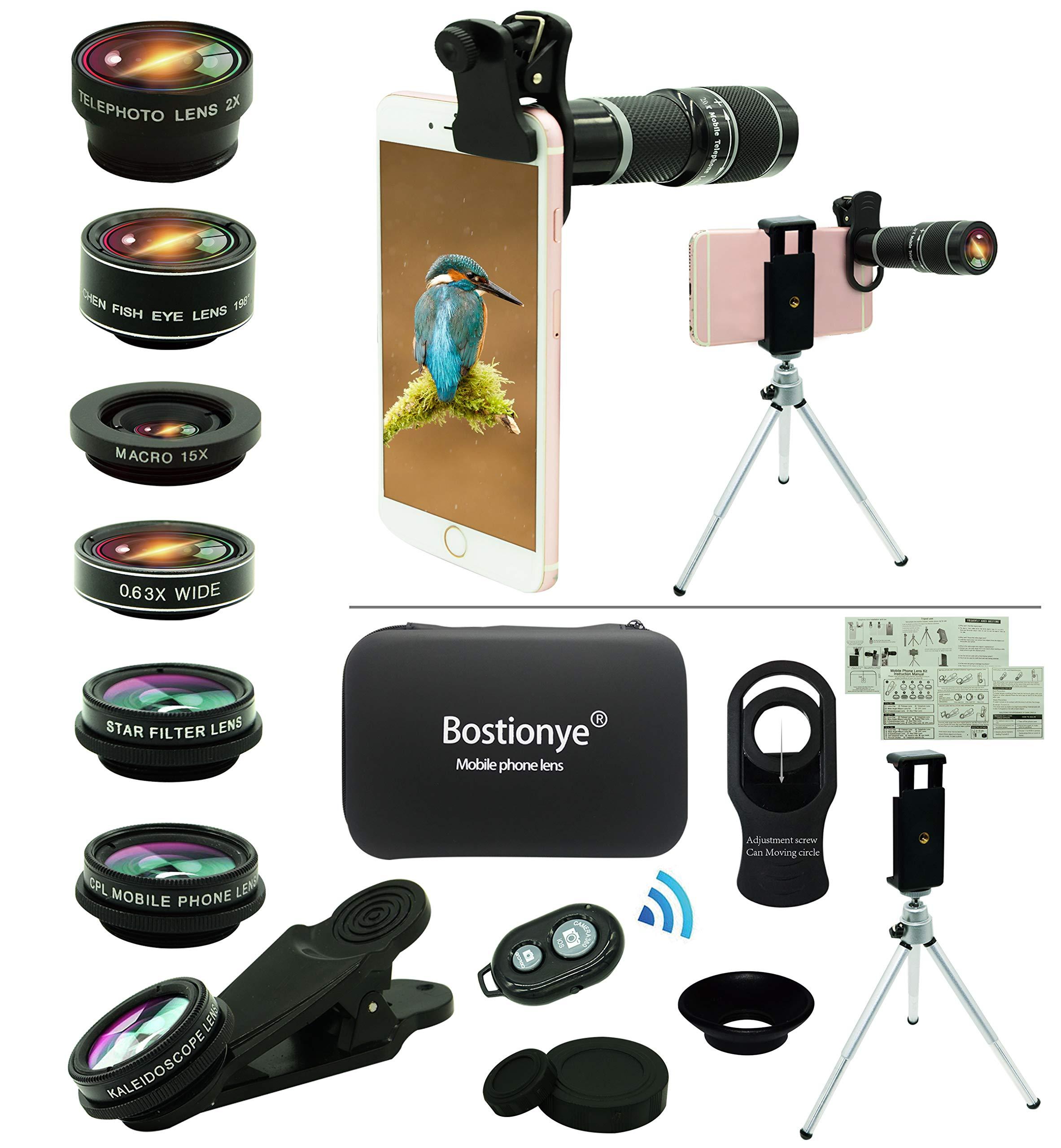 Cell Phone Camera Lens Kit,11 in 1 Universal 20x Zoom Telephoto Lens,0.63Wide Angle+15X Macro+198°Fisheye+2X Telephoto+Kaleidoscope+CPL/Starlight/Eyemask/Tripod/Remote,for Most Smartphone (Black)
