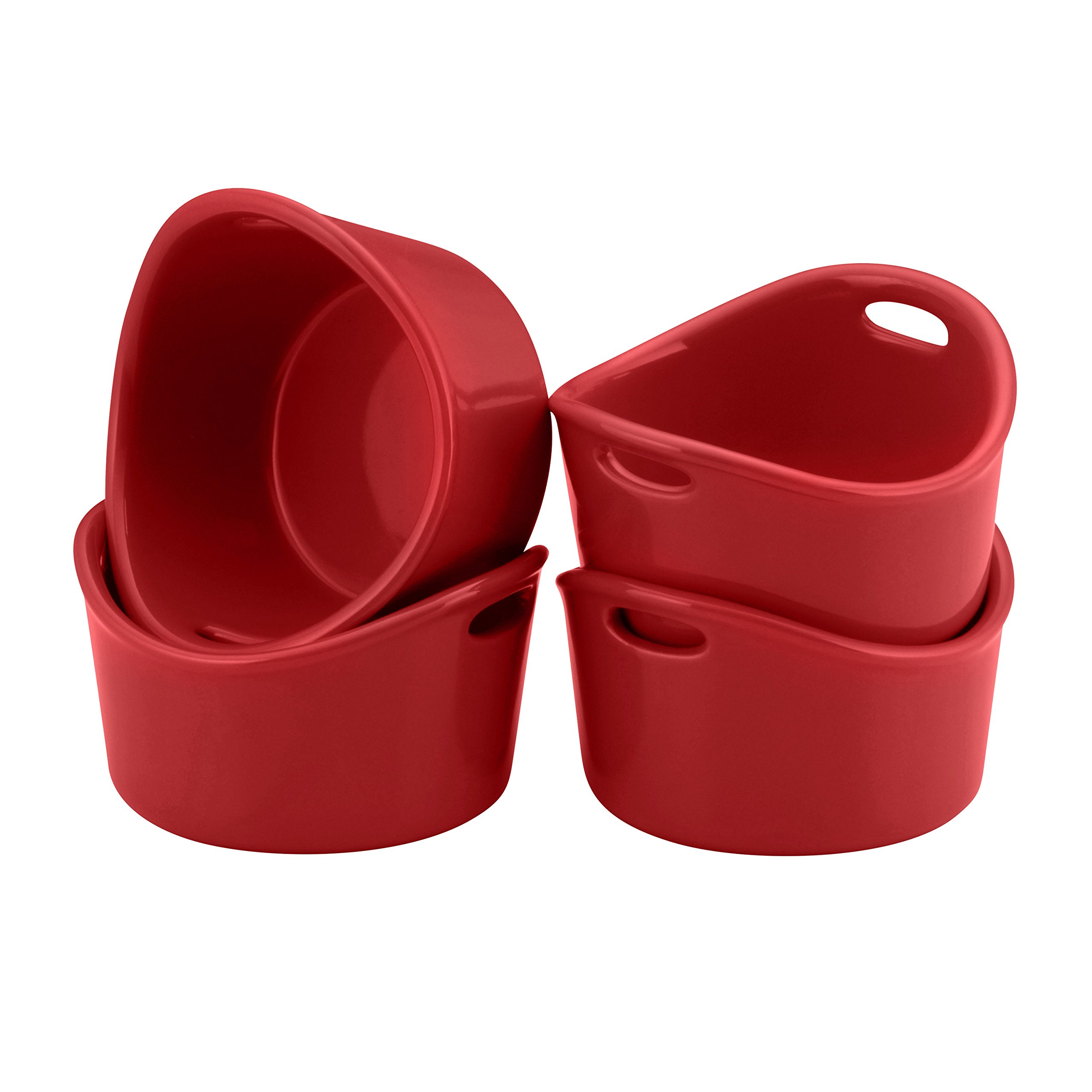 Rachael Ray Stoneware 4-Piece Bubble & Brown Ramekin Set, Red