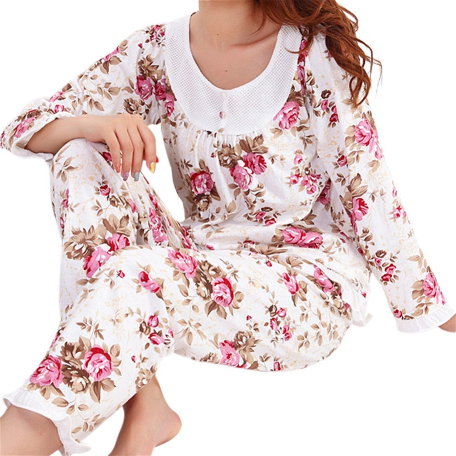 RENXINGLI Women Pajamas Set Pyjamas Floral Print Sleepwear Homewear Nightgown Pijama Mujer at Amazon Womens Clothing store: