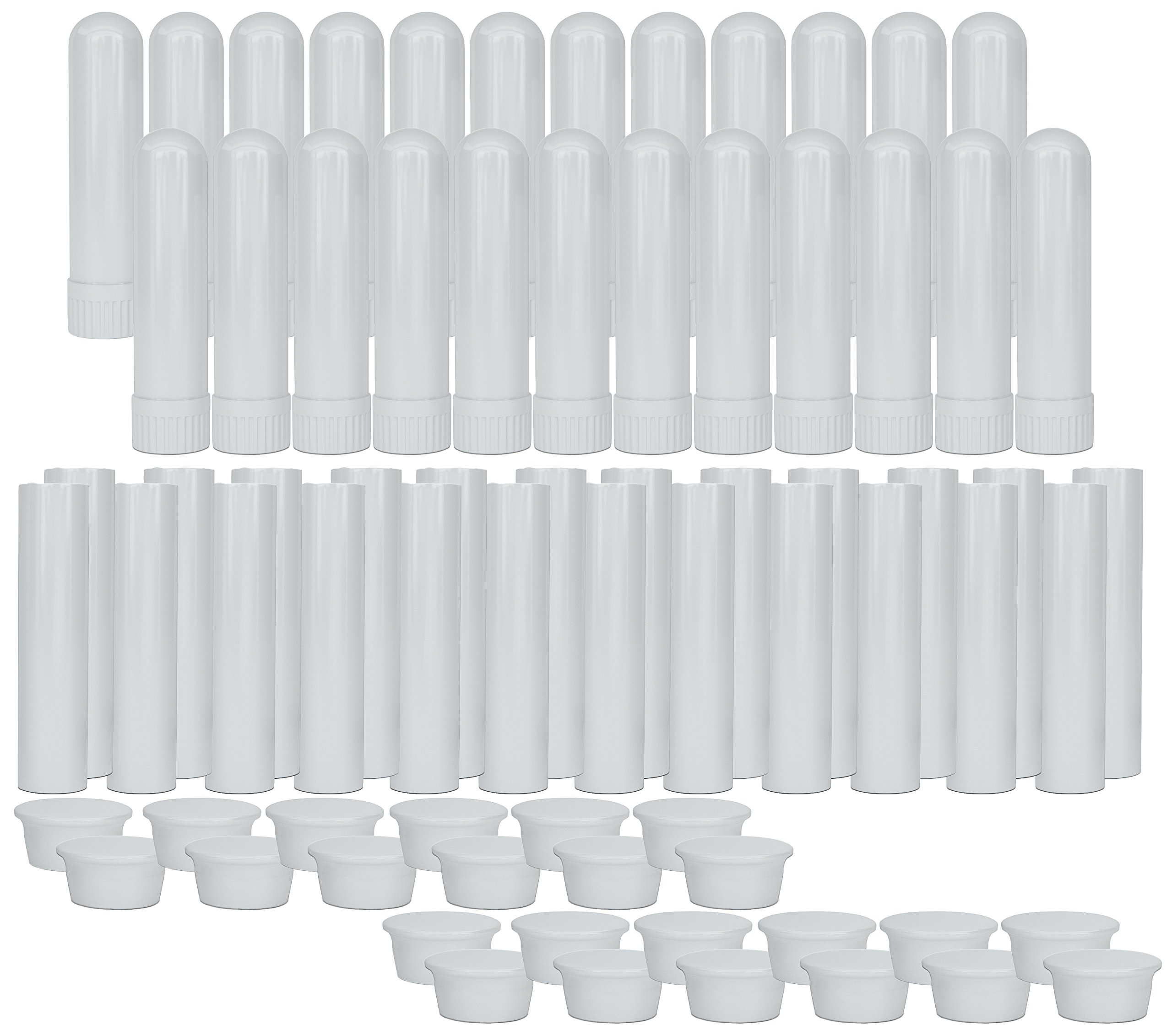 Essential Oil Aromatherapy White Nasal Inhaler Tubes (24 Complete Sticks), Empty Blank Nasal Inhalers for Essential Oils