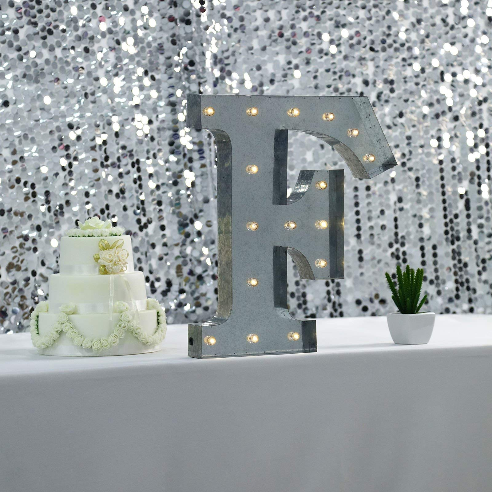 Tableclothsfactory 2 FT | Vintage Metal Marquee Letter Lights Cordless with 16 Warm White LED - F by Tableclothsfactory