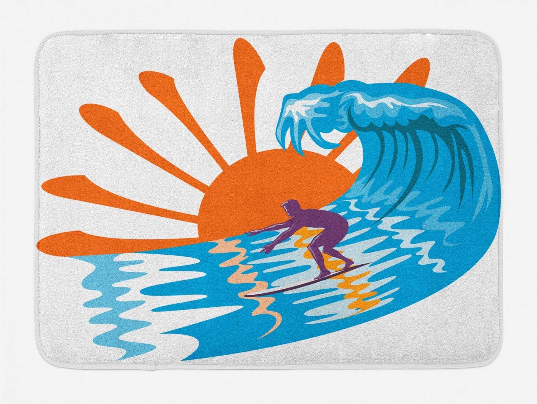 Ambesonne Summer Bath Mat, Beach Theme Hot Vibes Surfing Sport Sea Ocean Waves Sun Image Poster, Plush Bathroom Decor Mat with Non Slip Backing, 29.5