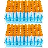 100pcs-15ml Plastic Centrifuge Tubes with Graduated Marks,Conical Bottom, Blue Screw Cap and Two Test Tube Racks(Orange)