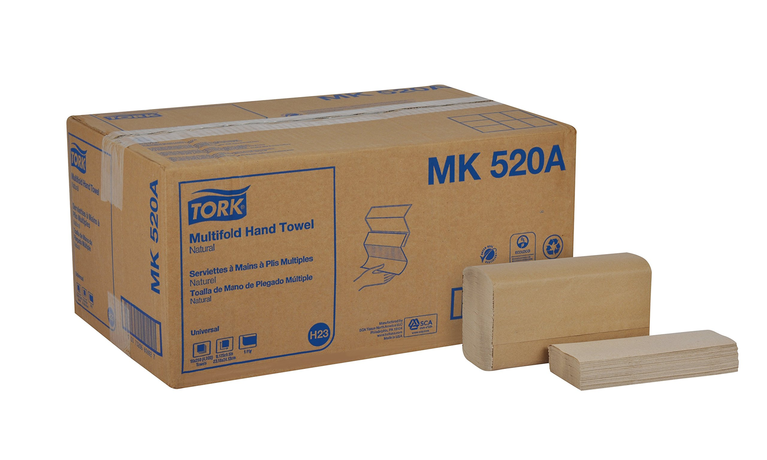 Tork Universal MK520A Multifold Paper Hand Towel, 1-Ply, 9.125'' Width x 9.5'' Length, Natural, Green Seal Certified (Case of 16 Packs, 250 per Pack, 4,000 Towels)