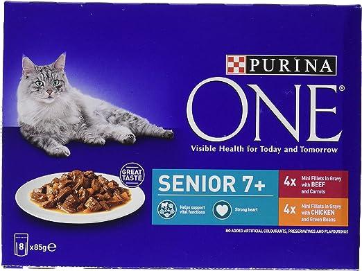 Purina ONE Comida para Gatos Senior 7+, de Pollo y Carne, 40 Bolsas de 85 g (5 x 8): Amazon.es: Productos para mascotas