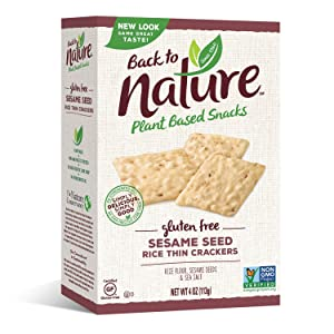 Back to Nature Gluten Free Crackers, Non-GMO Sesame Seed Rice Thins, 4 Ounce (Packaging May Vary)