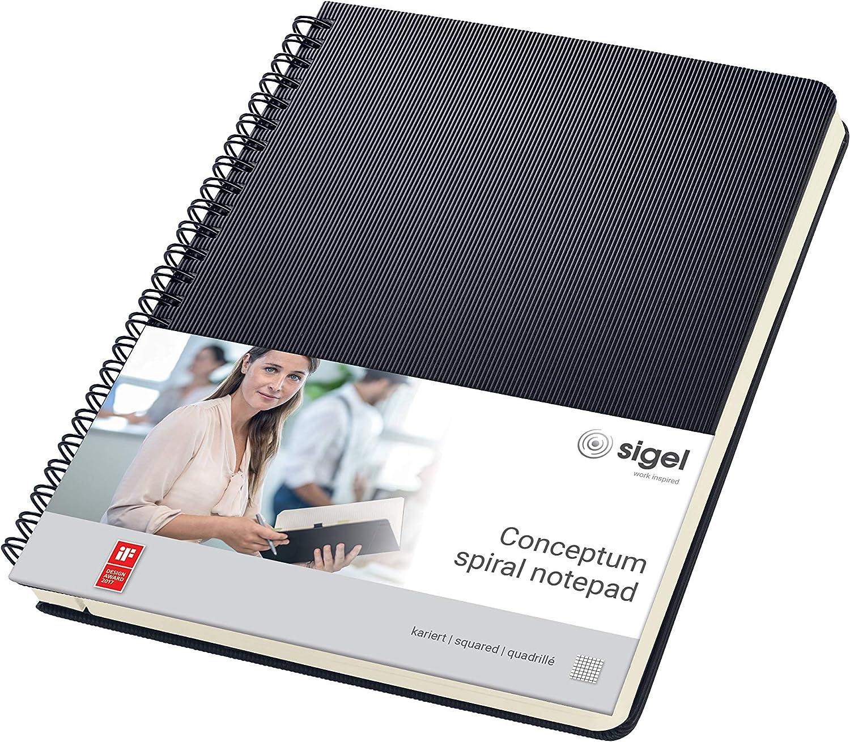 SIGEL CO822 Cuaderno espiral, 17.4 x 21.4 cm, cuadriculado, Hardcover, negro, Conceptum