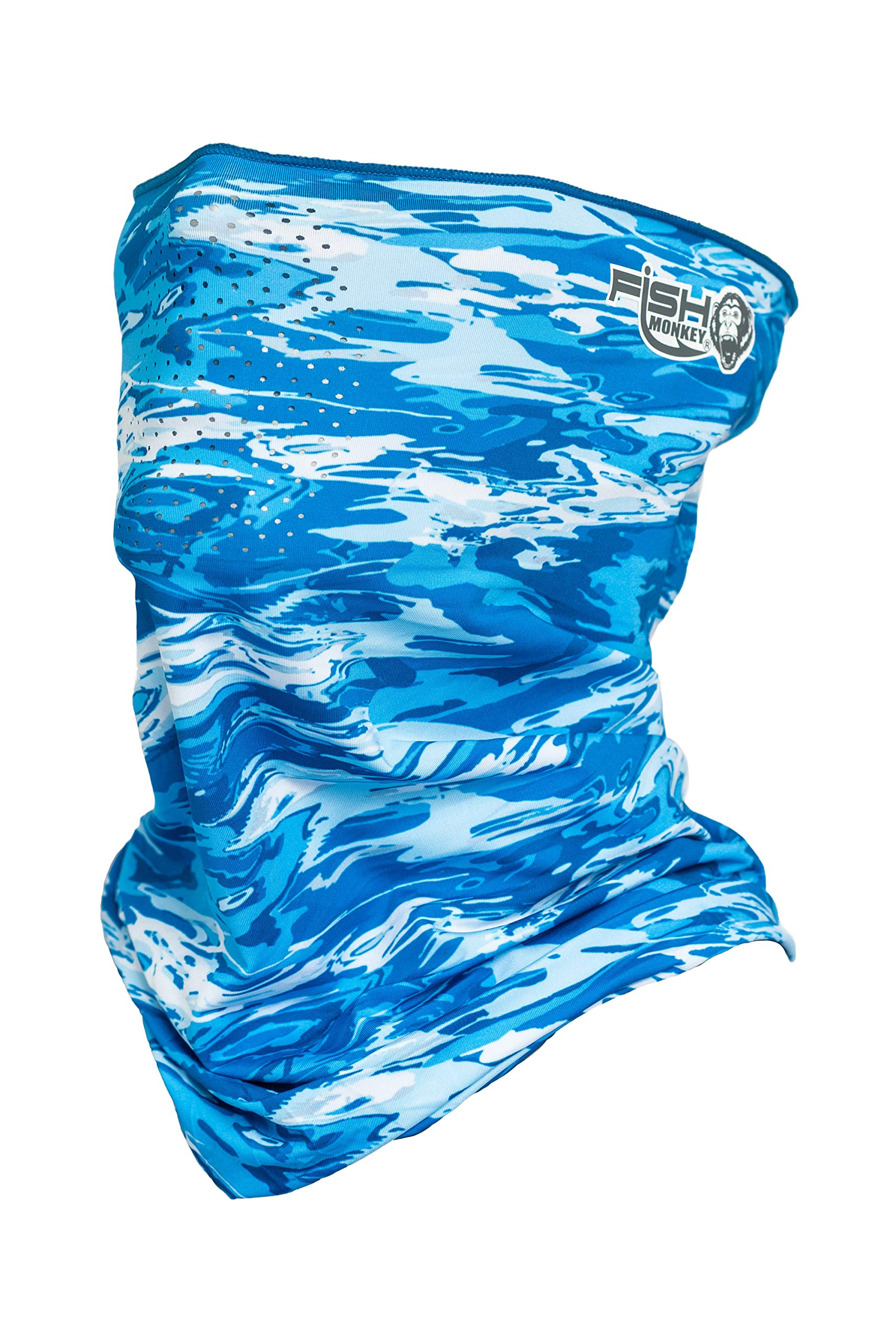 Fish Monkey Performance Face Guard (Blue Water Camo, One Size)