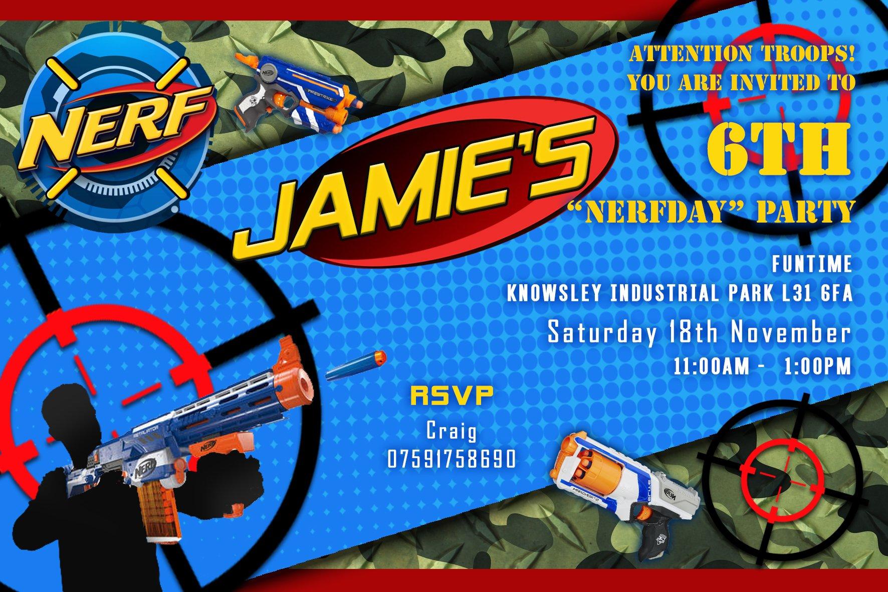 nerf gun party invitations invites