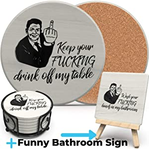 Funny Table Coasters for Drinks Absorbent and Bathroom Vanity Sign Set, 9 Piece w/ Metal Holder, Home Decor, Birthday, Secret Santa, White Elephant Decor, Home Office and Bathroom Decor, Unique