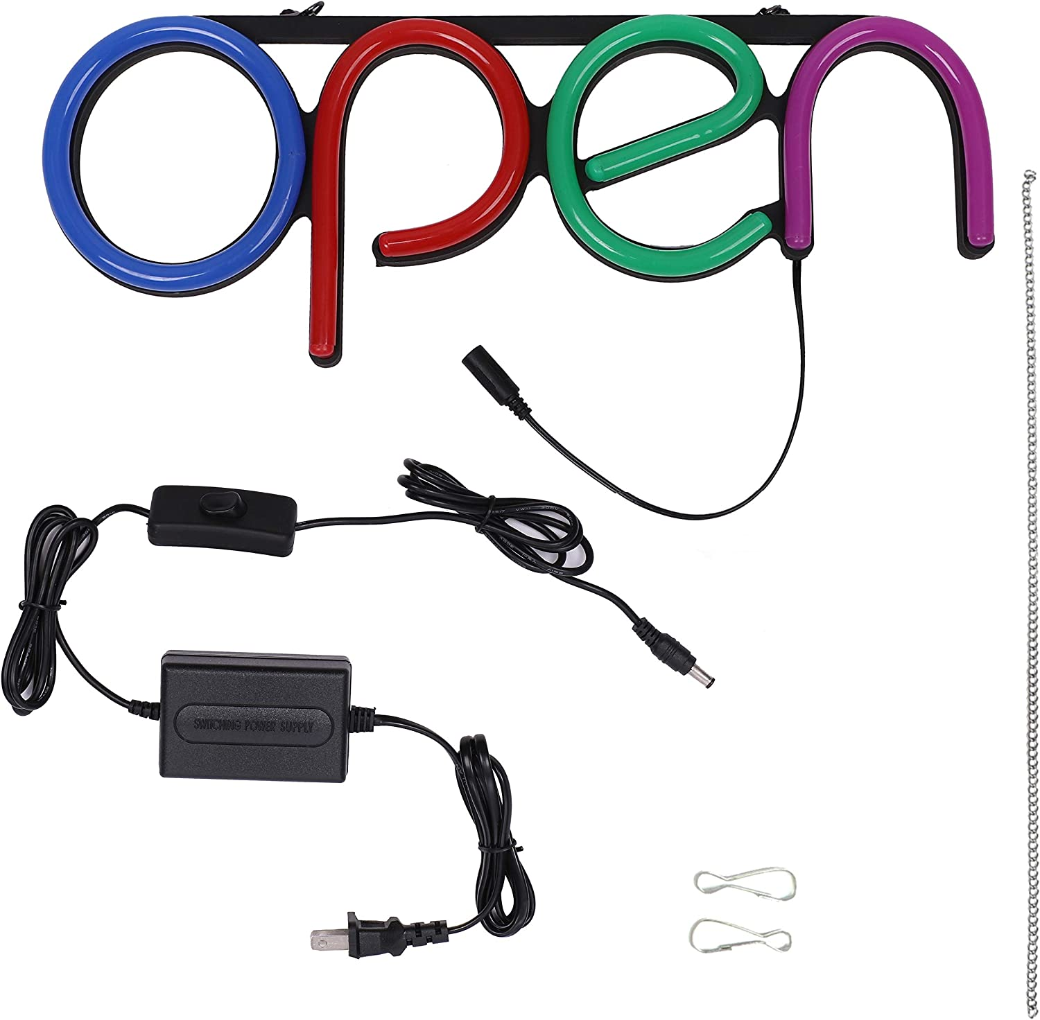 Lightweight /& Energy Efficient for Restaurants Offices Retail Shops Window Storefronts LED Neon Open Sign for Business Blue Bright LED Open Sign with ON /& Off Switch