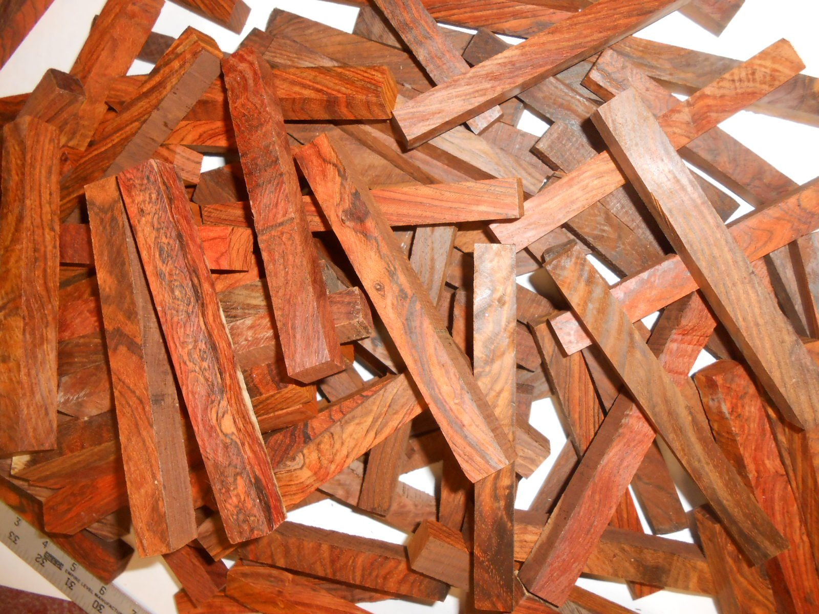 Cocobolo Rosewood Pen Blanks all heartwood-100 pieces @ 3/4'' x 3/4'' x 5 inches by Diamond Tropical Hardwoods