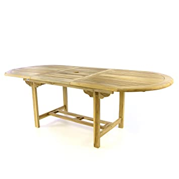 Divero Table de jardin en teck pour terrasse balcon jardin d\'hiver ...