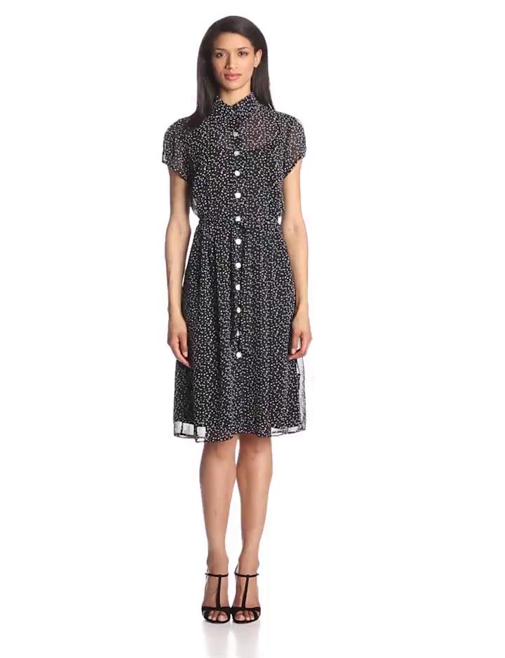 MSK Women's Petite Short Sleeve Printed Shirtdress