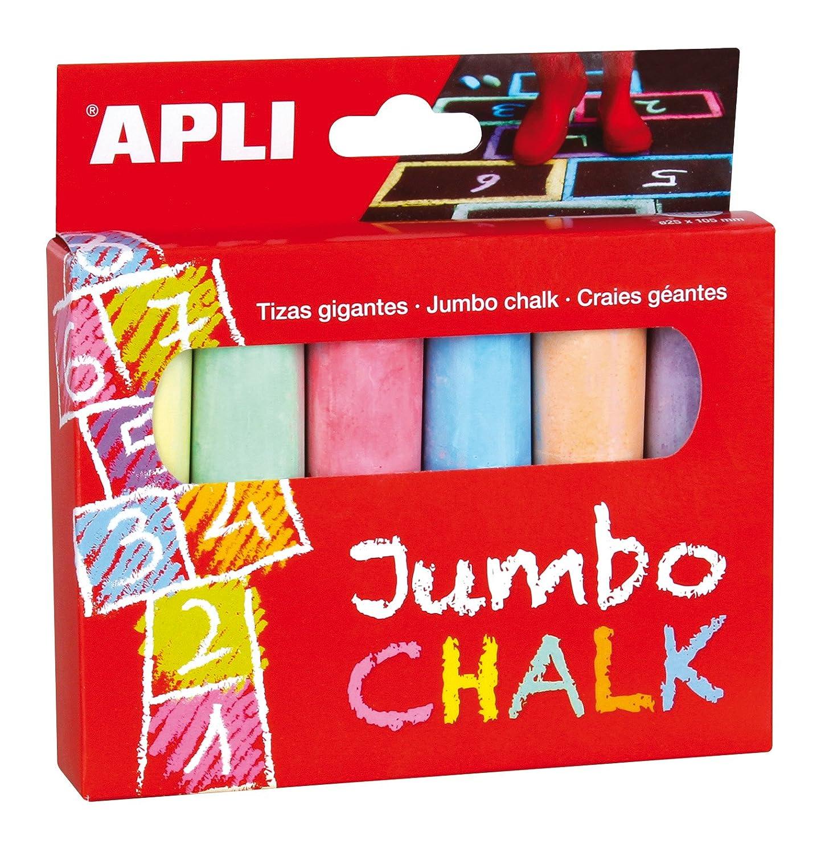 Apli Boîte de 6 craies de Couleur géantes, 014367, Multicolore