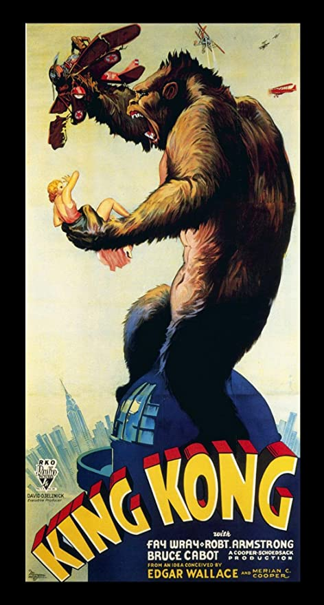 Buyartforless If If Mov1002 30x15 2 Black Plexi Framed King Kong Movie 1933 Poster 30 X 15
