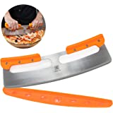 "The Ultimate 14"" Pizza Cutter / Slicer, Rocker Style. Very Sharp Knife Blade with Protective Cover / Sheath. Unique Design Provides a Safer Grip than a Mezzaluna Chopper. Premium HQ Stainless Steel"