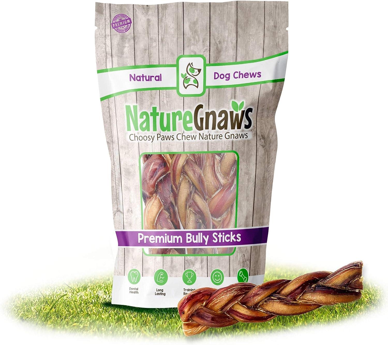 Rawhide Alternative Bones Nature Gnaws Braided Bully Sticks 5-6 inch 100/% Natural Grass-Fed Beef Dog Chew Treats