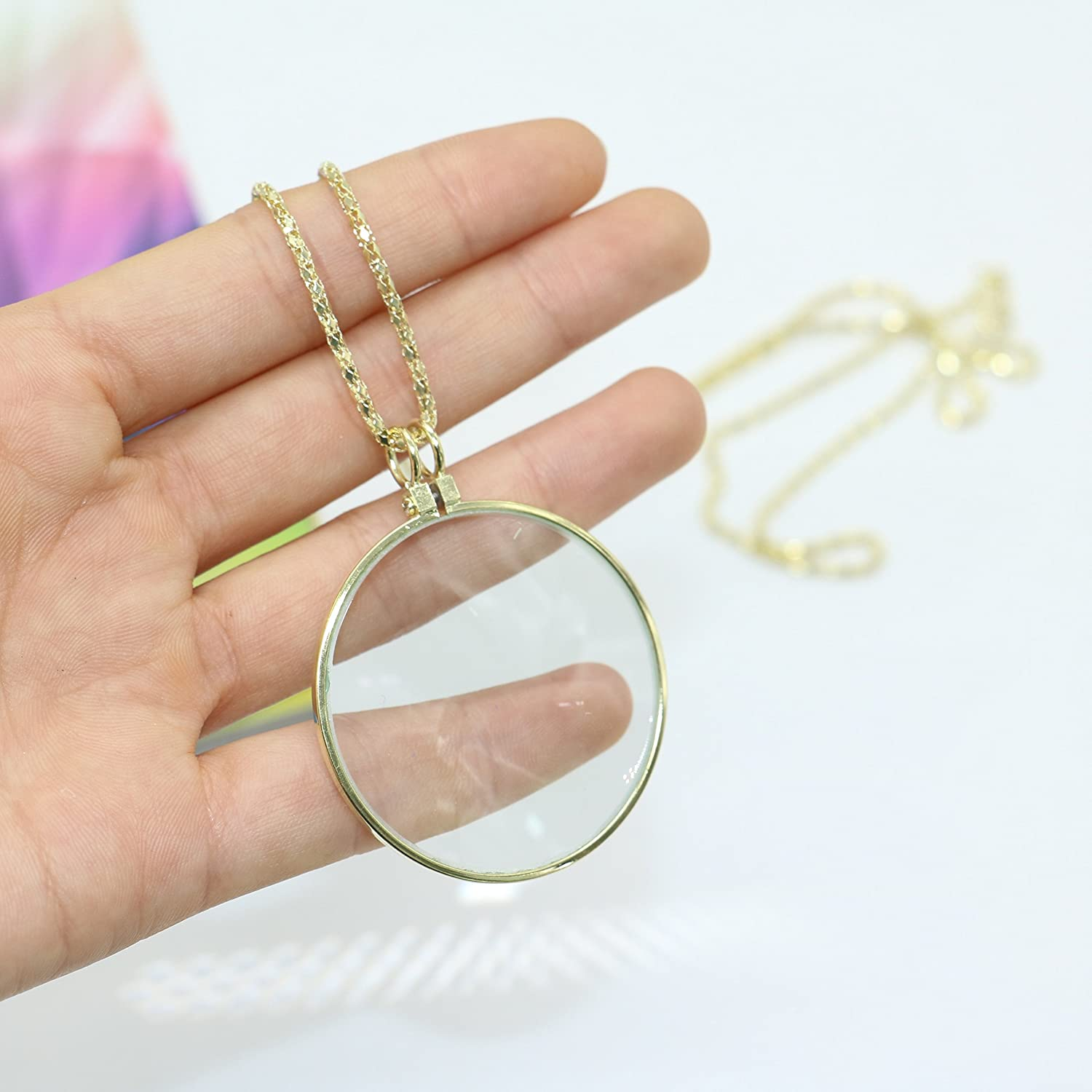 5X Necklace Jewelry Magnifier Gloden Coin Magnifying Glass Pendant for Library Jewelry Reading Fine Print Increase Vision by Ids