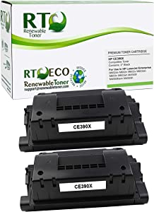 Renewable Toner Compatible Toner Cartridge High Yield Replacement for HP 90X CE390X for Laserjet M602 M603 M4555 (Black, 2-Pack)