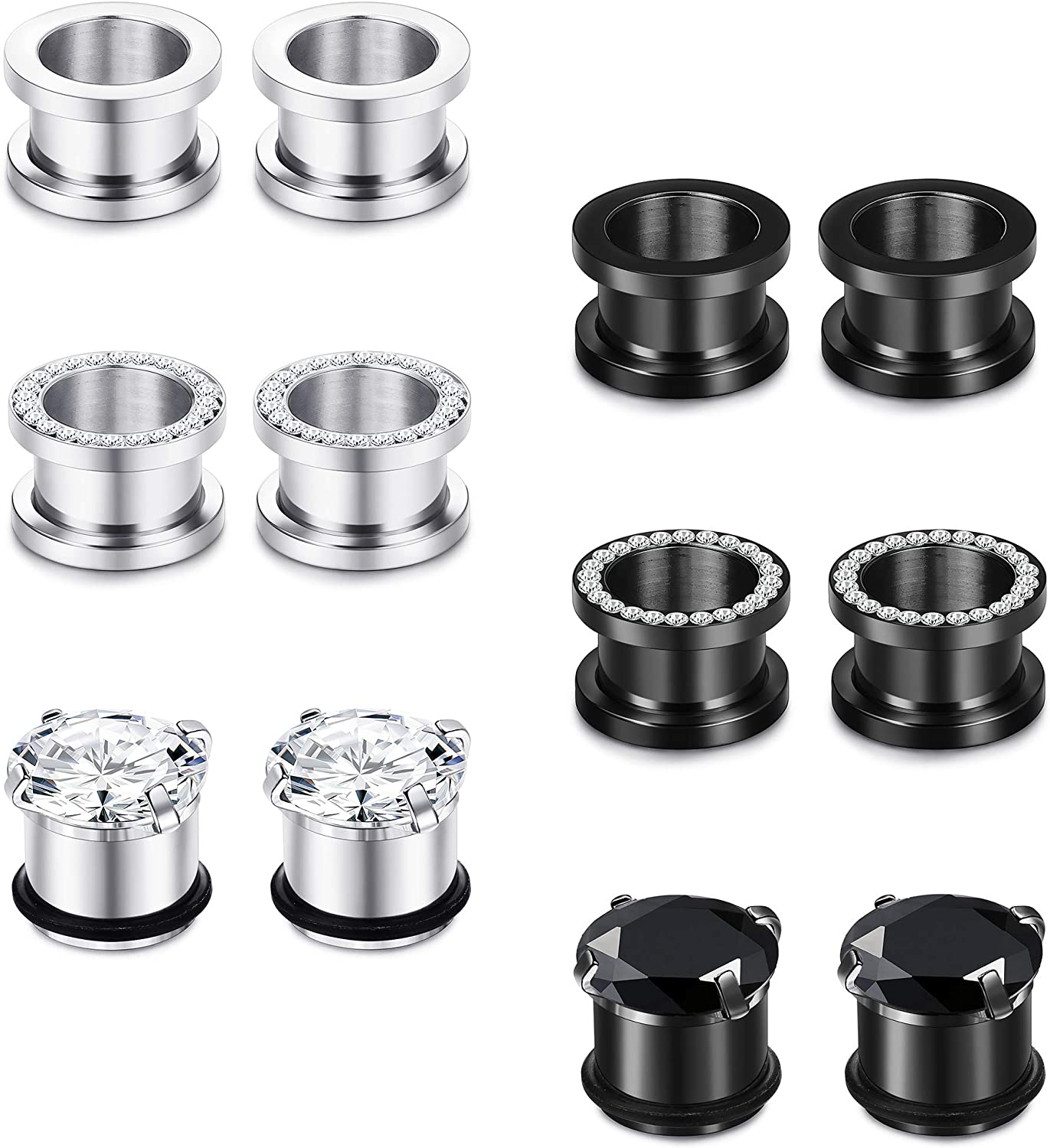 JOERICA 6 Pairs Stainless Steel Ear Gauges CZ Screw Plugs Tunnel Ear Expander Stretcher Piercing