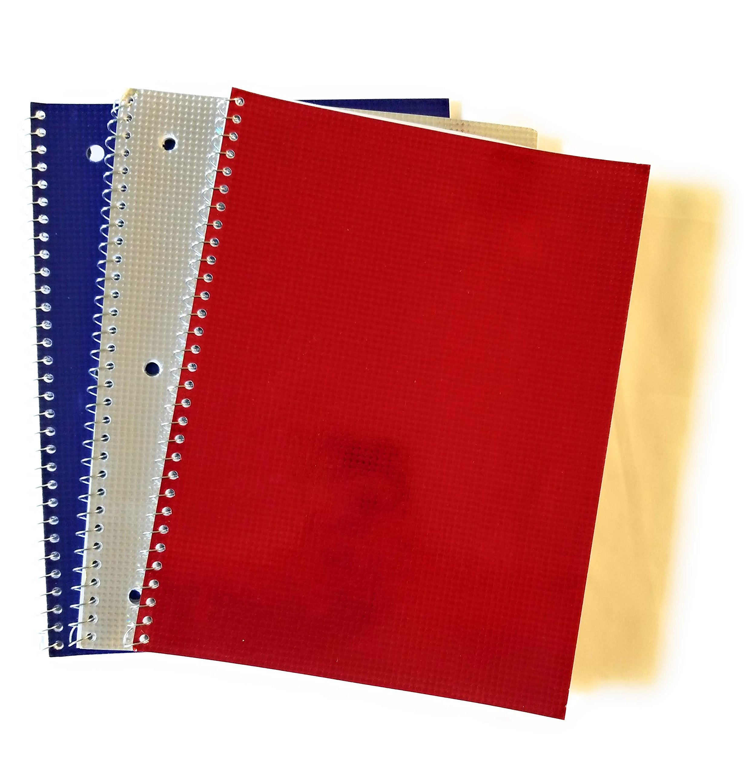 Set of 3 Holographic Wide-Ruled Spiral Notebooks - Red, Silver & Blue