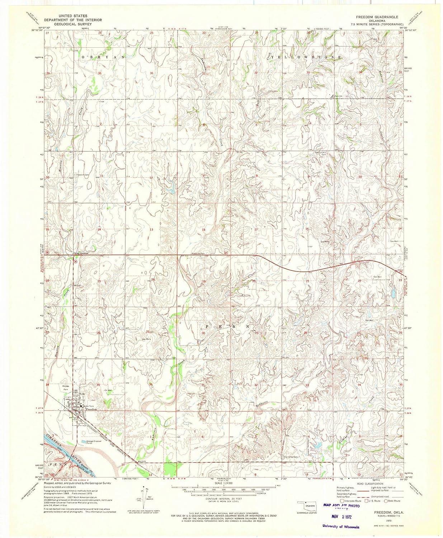 Freedom Oklahoma Map.Amazon Com Oklahoma Maps 1970 Freedom Ok Usgs Historical