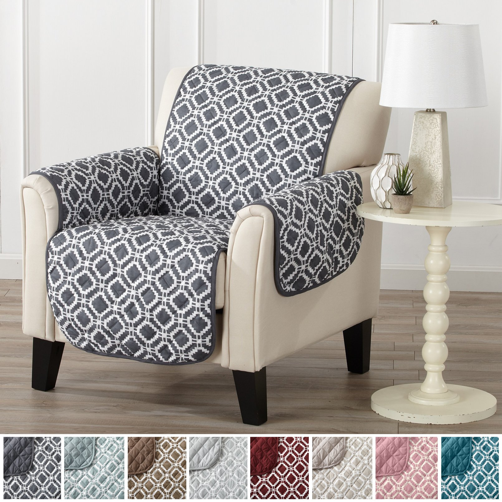 Modern Printed Reversible Stain Resistant Furniture Protector with Geometric Design. Perfect Cover for Pets and Kids. Adjustable Elastic Straps Included. Liliana Collection (Chair, Steel Grey)